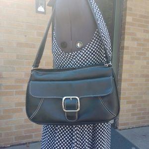 Villager black vegan leather shoulder bag